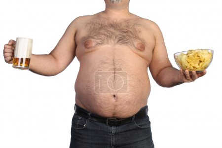 Fat man holding beer, chips and tv remote