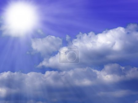 Photo for Sun Background Blue with Sun Rays and Clouds - Royalty Free Image
