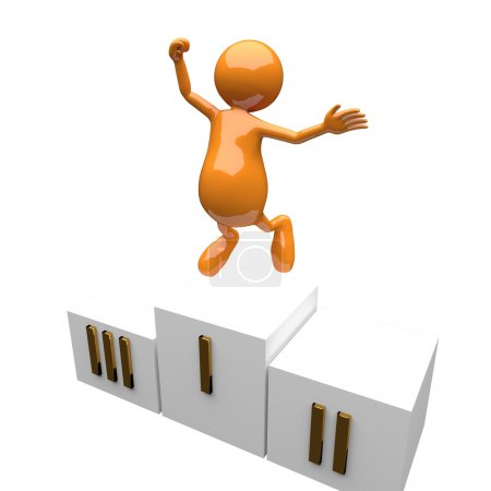 Photo for 3D Man Winner Jumping on the Podium - Royalty Free Image