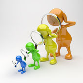 3D people With Magnifying Glass