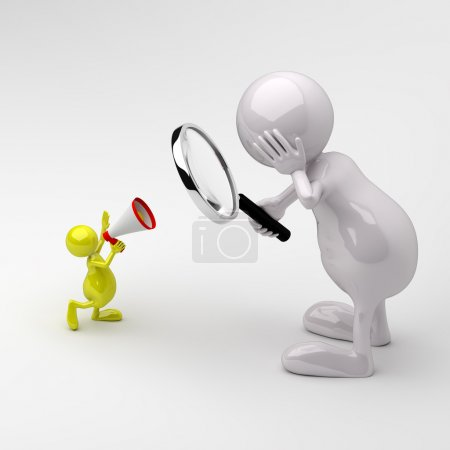 3D people Magnifying glass and Megaphone
