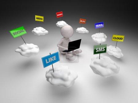 Photo pour 3D homme cloud computing concept de réseau social - image libre de droit