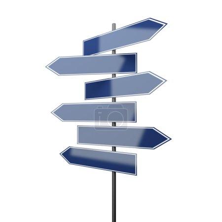 Photo pour Panneaux de signalisation bleu isolé sur fond blanc - image libre de droit