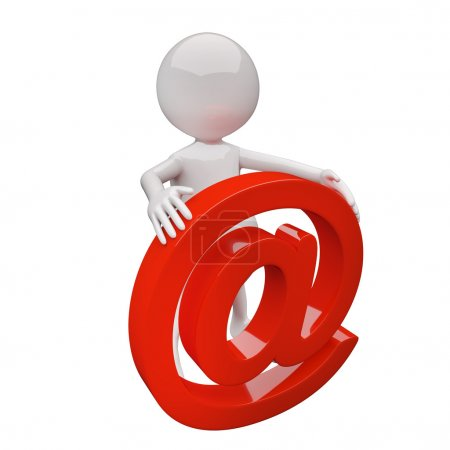 Photo pour 3D avec panneau de courrier rouge sur fond blanc - image libre de droit