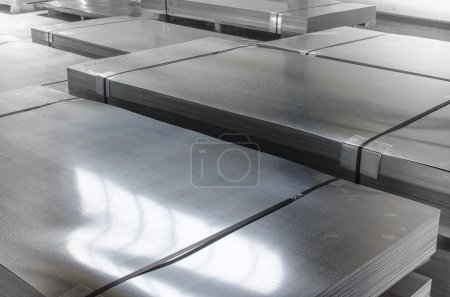 Photo for Sheet tin metal in production hall - Royalty Free Image