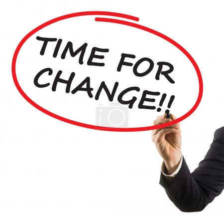 businessman hand writing text time for change