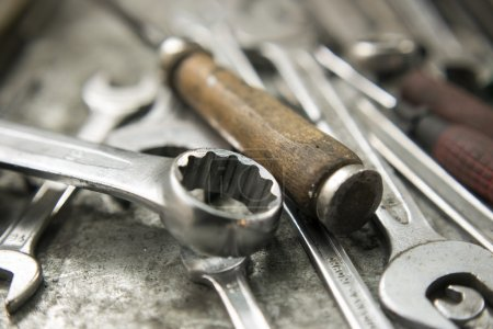 working tools on workbench