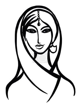 Hand drawn, cartoon, sketch illustration of squaw...