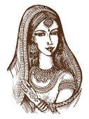 Hand drawn cartoon sketch illustration of Indian