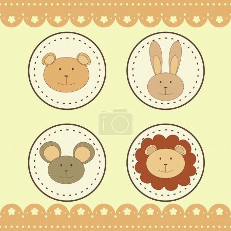 animal faces in round medals