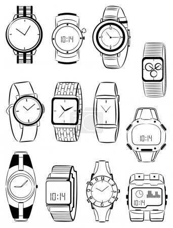 Illustration for Set of silhouettes of men's watches - Royalty Free Image