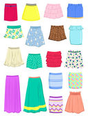 Set of summer skirts isolated on white background