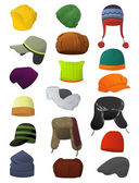 A set of men's winter hats isolated on white background