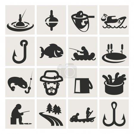 Set of icons. fishing