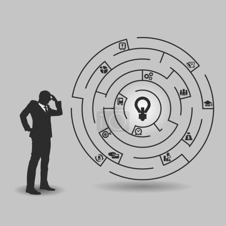 Illustration for Businessman in front of a huge maze - Royalty Free Image