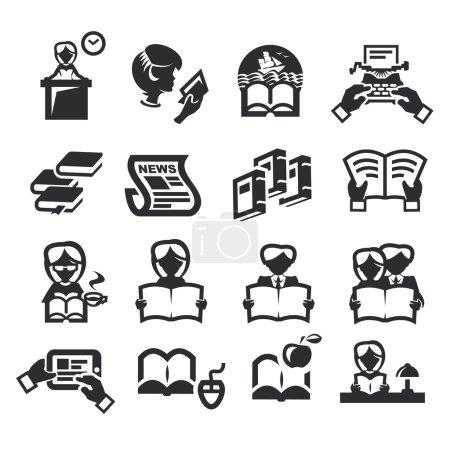 Icons set literature