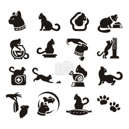 Illustration pour Silhouettes de chat - image libre de droit