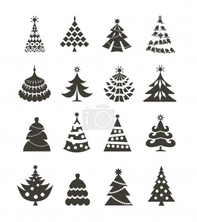 Illustration for Christmas tree icons - Royalty Free Image