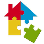 Puzzle house with loose part
