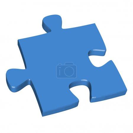 3D puzzle piece blue