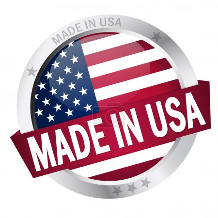 Button with Banner MADE IN USA