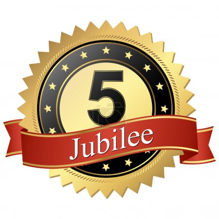 Jubilee button with banners - 5 years