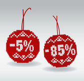 Discount price tags 5% and 85% off