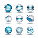 Globe sphere 3d icons set vector illustration isol...