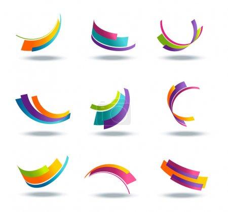 Illustration pour Icône abstraite 3d sertie d'éléments de ruban colorés isolés sur fond - image libre de droit