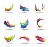 Abstract 3d icon set with colorful ribbon elements isolated on background