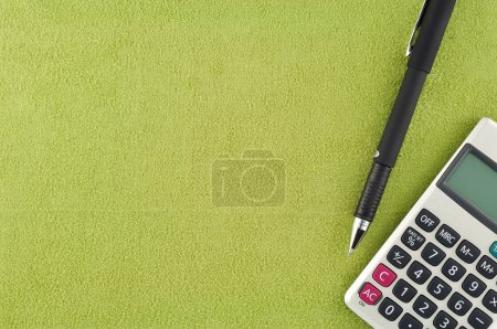 Calculator pen on fabric
