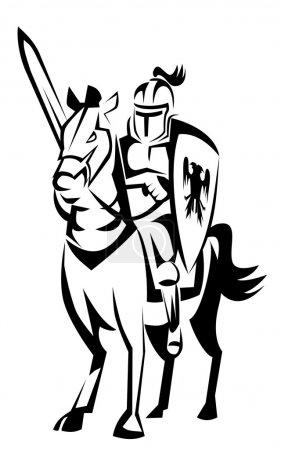 Illustration pour Chevalier cavalier cheval - image libre de droit