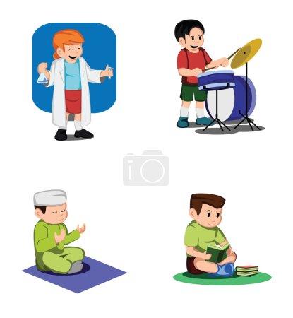 Illustration pour Collection d'activités pour enfants - image libre de droit