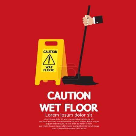 Caution Wet Floor Vector Illustration