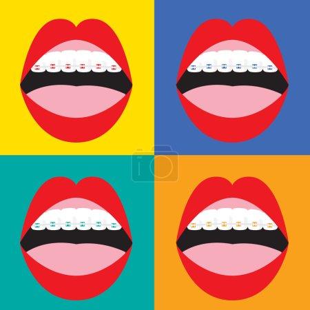 Braces Corrective Orthodontics On Colorful Background