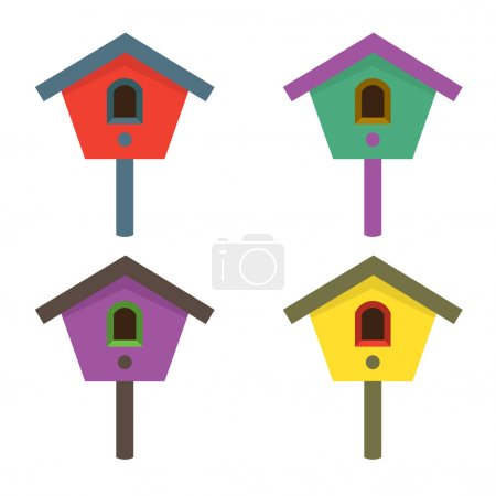 Colorful Birdhouses Vector Illustration