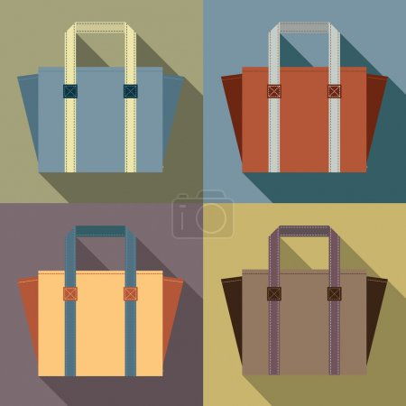 Flat Design Tote Bags Vector Illustration