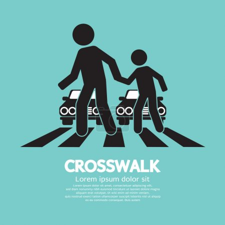 Illustration for Crosswalk Graphic Sign Vector Illustration - Royalty Free Image