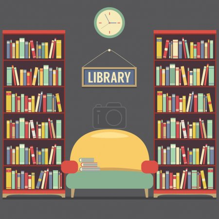 Empty Reading Seat In Library Vector Illustration
