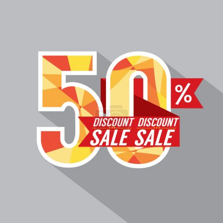 50 Percent Discount Vector Illustration