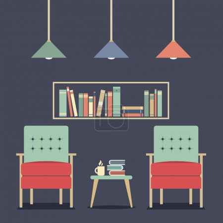 Illustration for Modern Design Interior Chairs and Bookshelf - Royalty Free Image