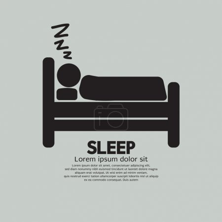 Illustration for Person Sleeping In Bed Symbol Vector Illustration - Royalty Free Image