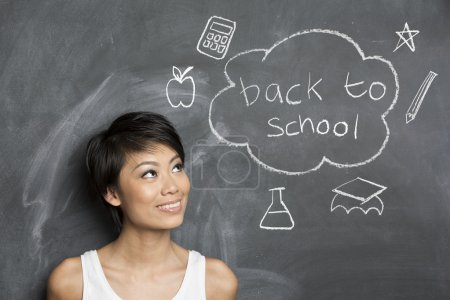 Asian teacher and chalkboard with Back to School concept hand dr
