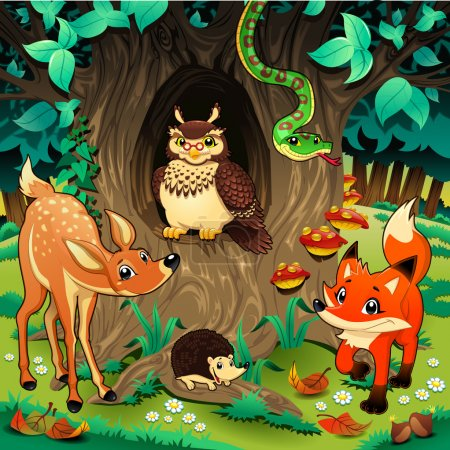 Illustration for Animals in the wood. Cartoon and vector illustration. - Royalty Free Image
