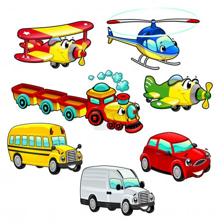 Illustration for Funny vehicles. Cartoon and vector isolated characters. - Royalty Free Image