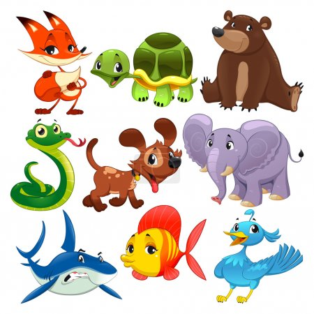 Illustration for Set of animals. Cartoon and vector isolated characters. - Royalty Free Image