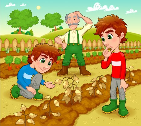 Illustration for Funny scene in the vegetable garden. Vector and cartoon illustration. - Royalty Free Image