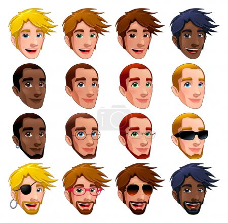 Illustration for Male faces, vector isolated characters. Glasses, sunglasses and earrings are isolated and interchangeable. - Royalty Free Image