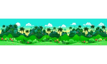 Illustration pour La forêt verte. Illustration vectorielle avec mesures : 6144x1536 pixels, adaptable à l'écran iPad. Les côtés se répètent parfaitement pour une animation possible et continue. - image libre de droit