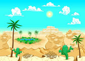 Desert with oasis Vector illustration The sides repeat seamlessly for a possible continuous animation